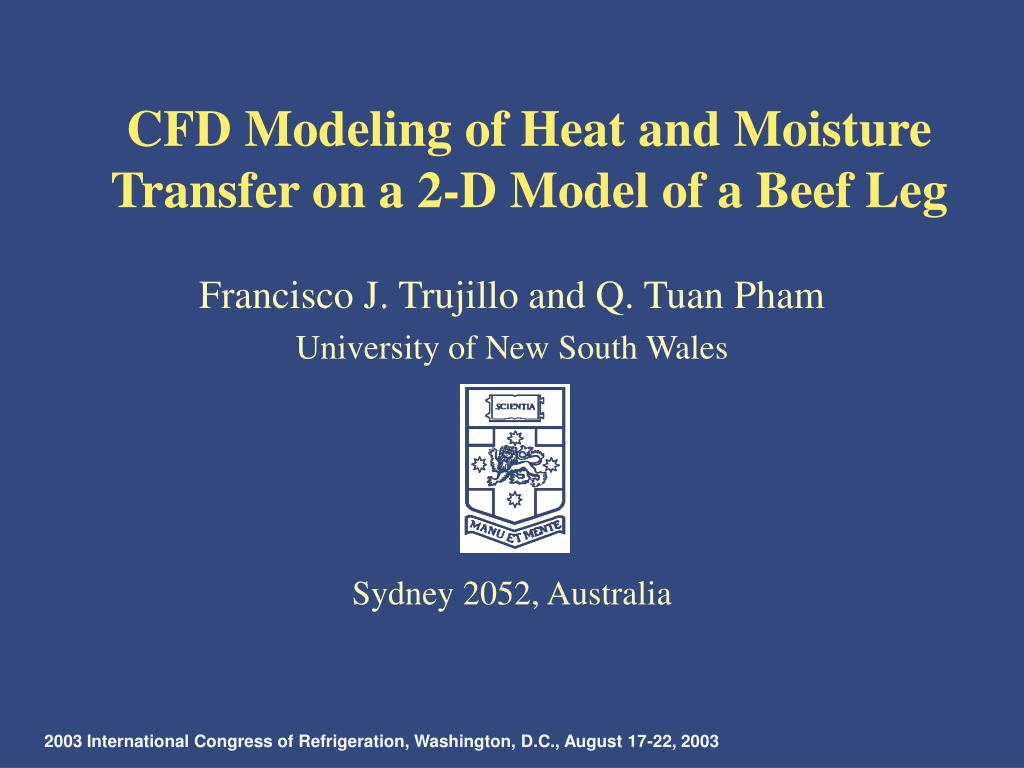 cfd modeling of heat and moisture transfer on a 2 d model of a beef leg l.