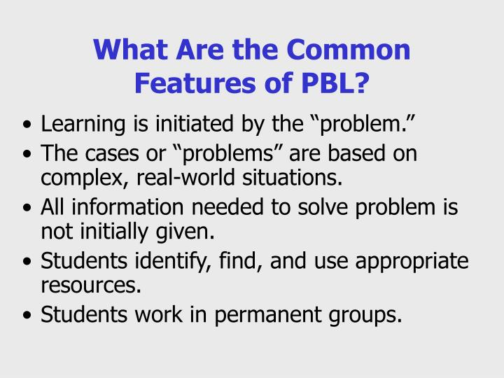 What Are the Common Features of PBL?