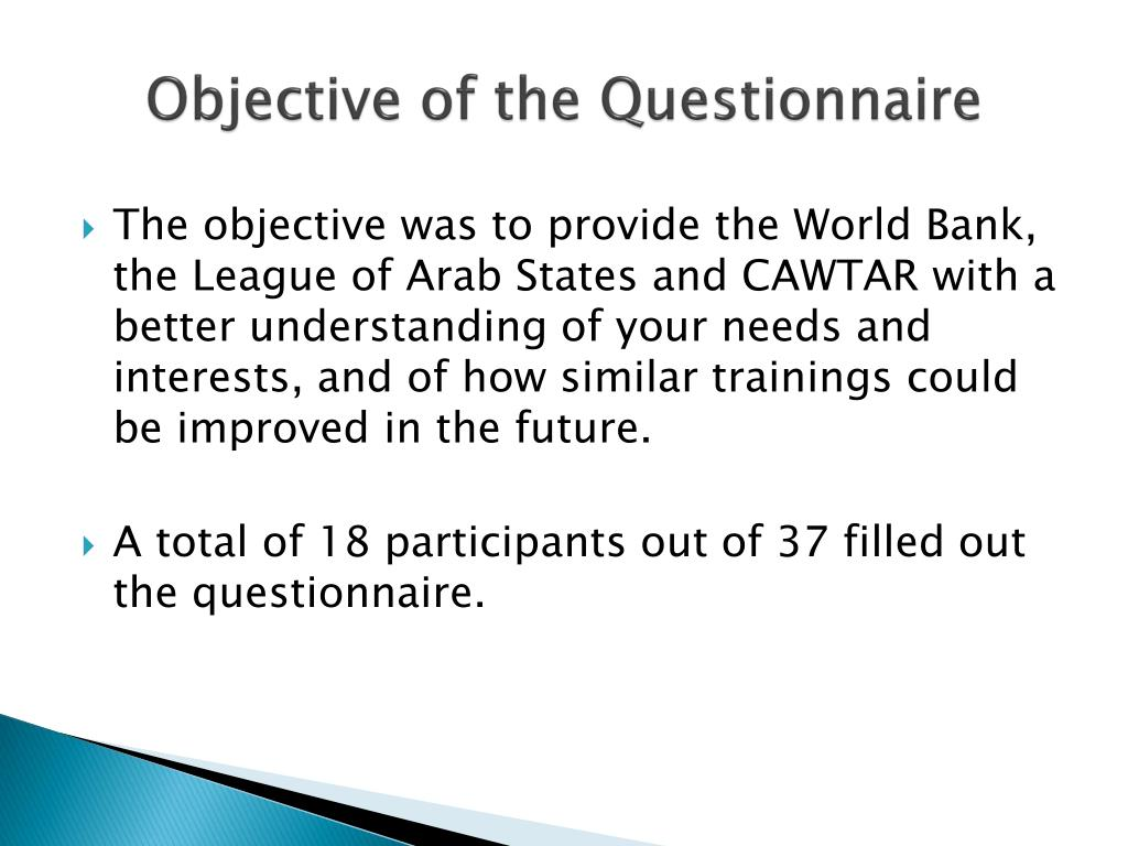 Objective of the Questionnaire