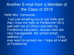 another e mail from a member of the class of 2010