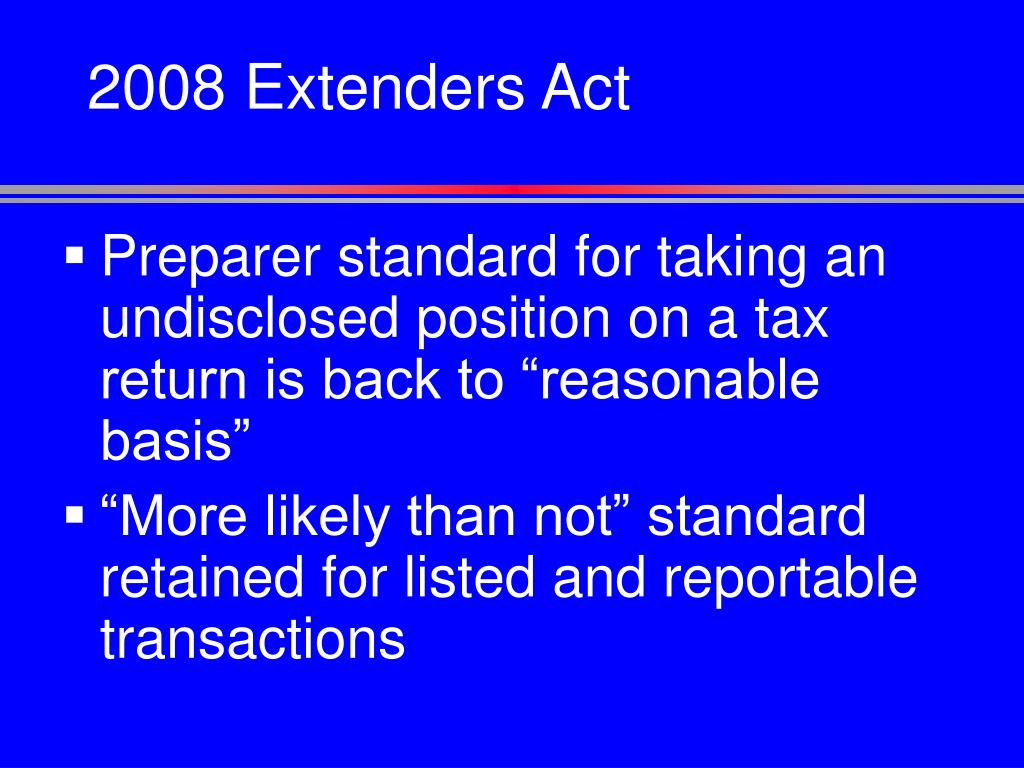2008 Extenders Act