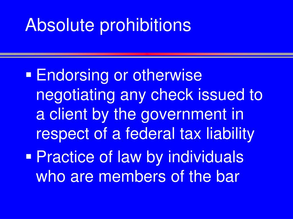 Absolute prohibitions