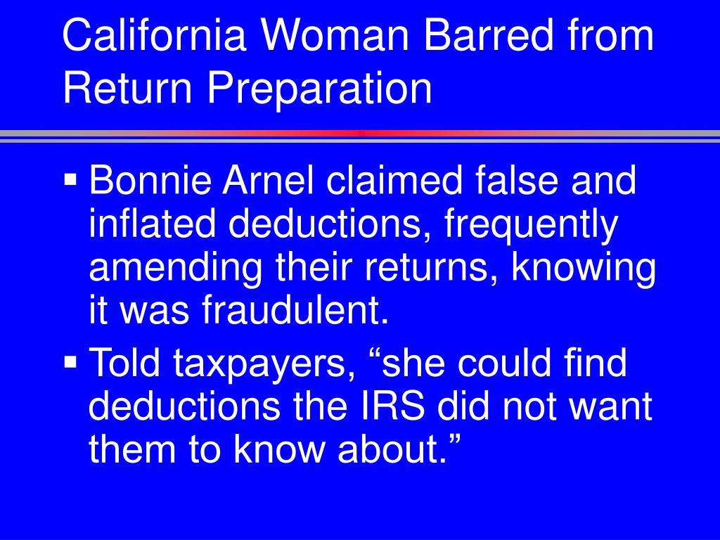 California Woman Barred from Return Preparation