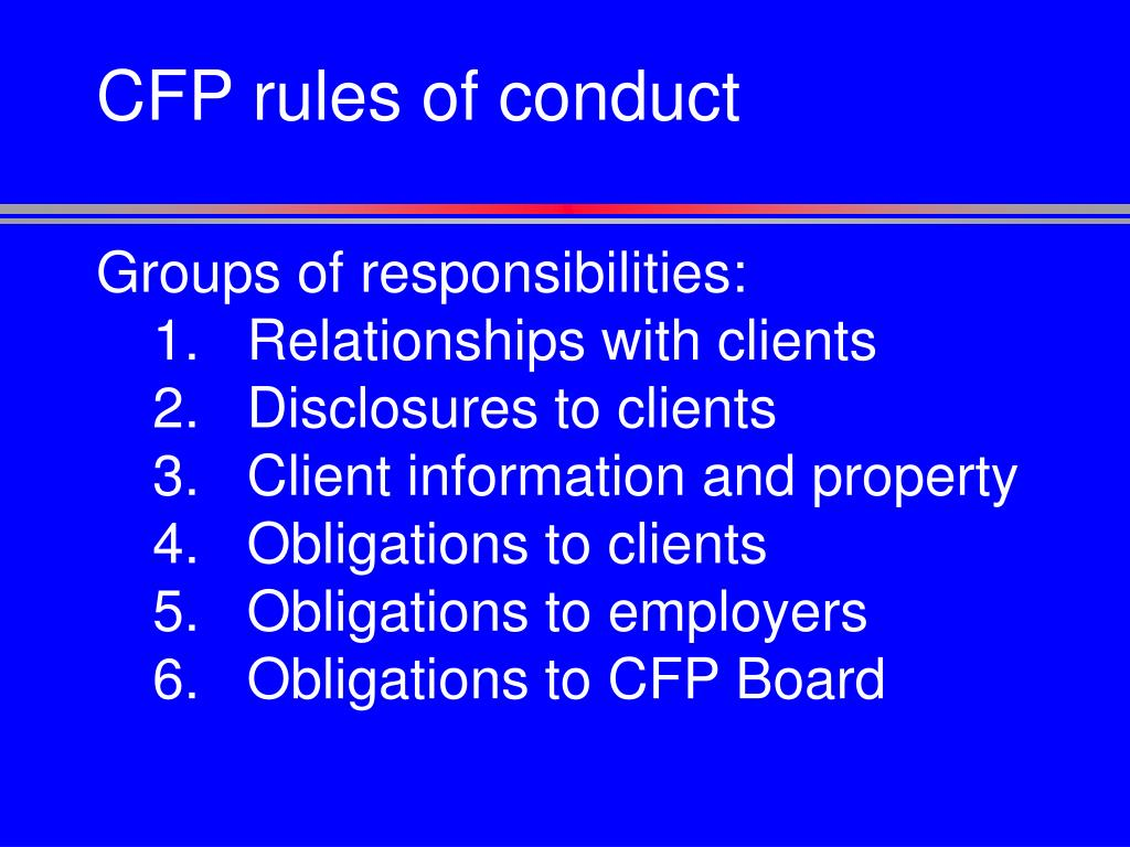 CFP rules of conduct