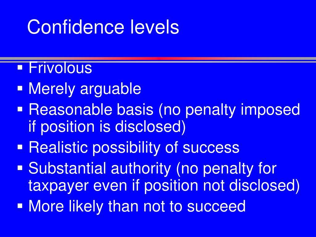 Confidence levels