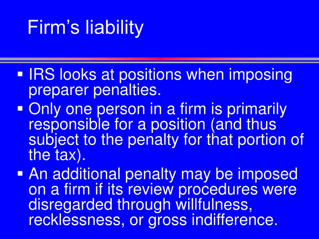 Firm's liability