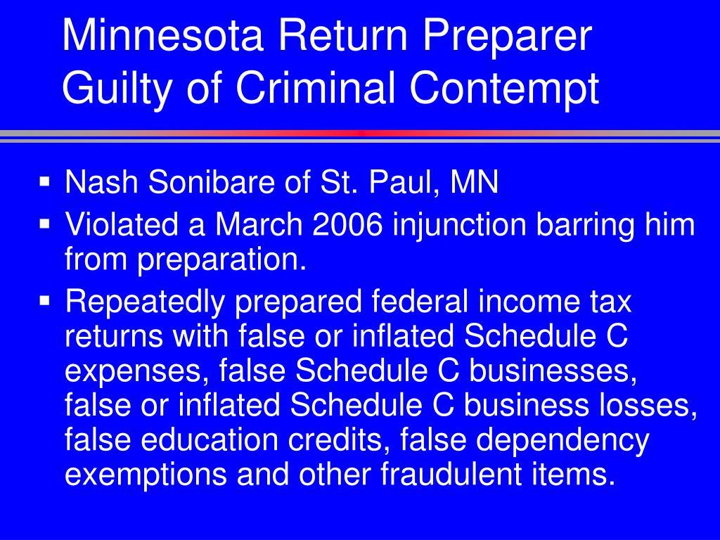 Minnesota Return Preparer Guilty of Criminal Contempt