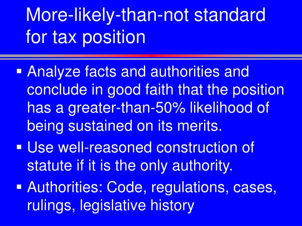 More-likely-than-not standard for tax position