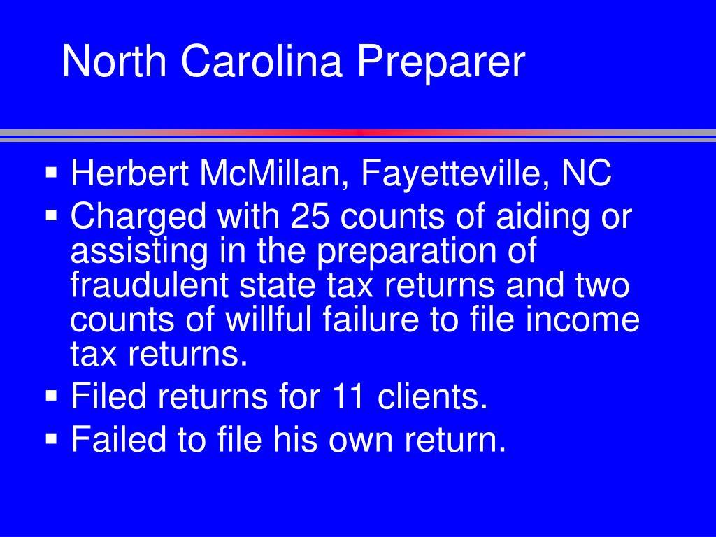 North Carolina Preparer