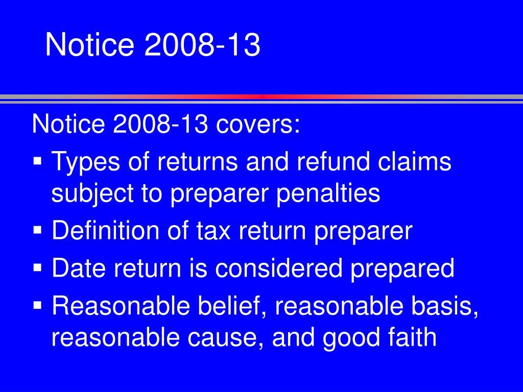 Notice 2008-13