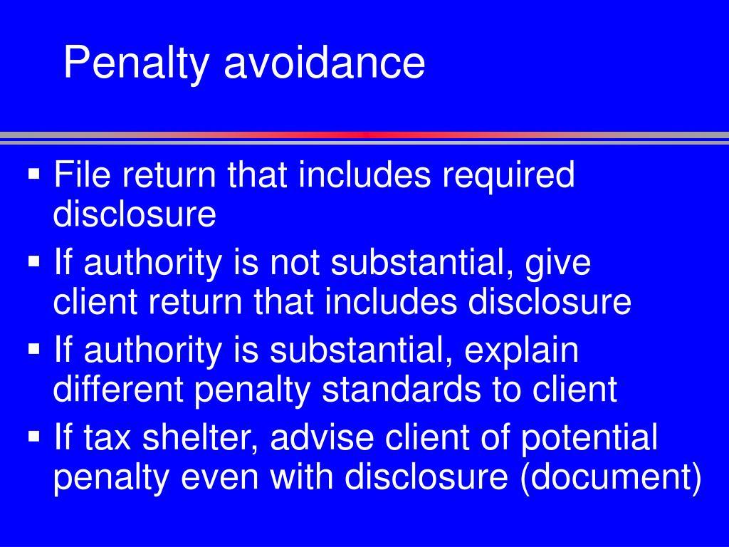 Penalty avoidance