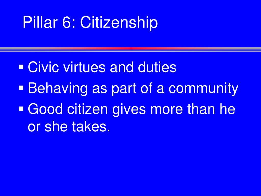 Pillar 6: Citizenship