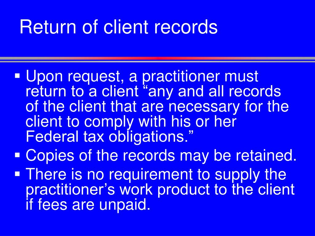 Return of client records