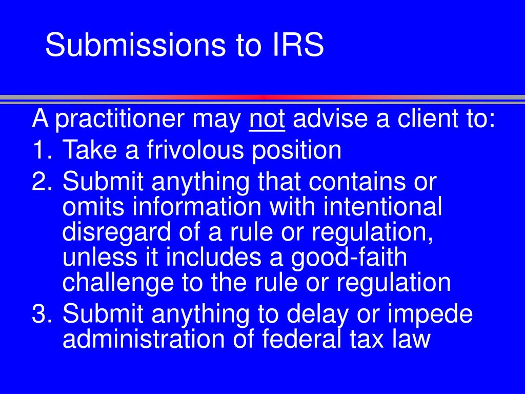 Submissions to IRS