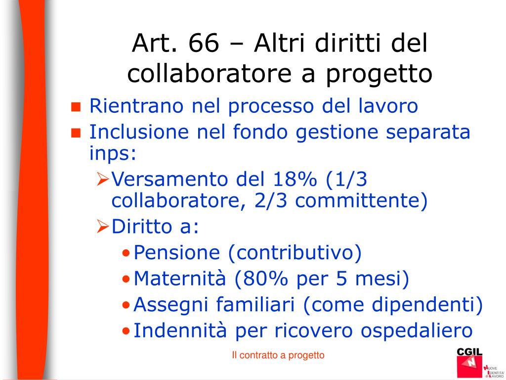 Art. 66 – Altri diritti del collaboratore a progetto