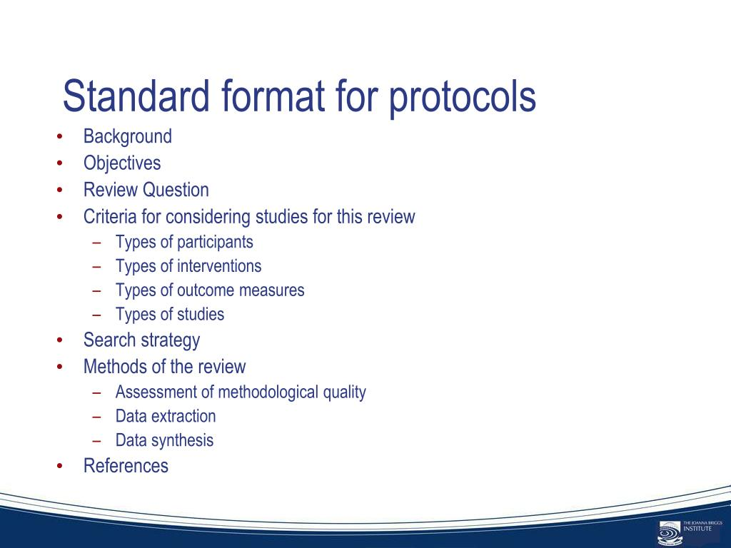 Standard format for protocols