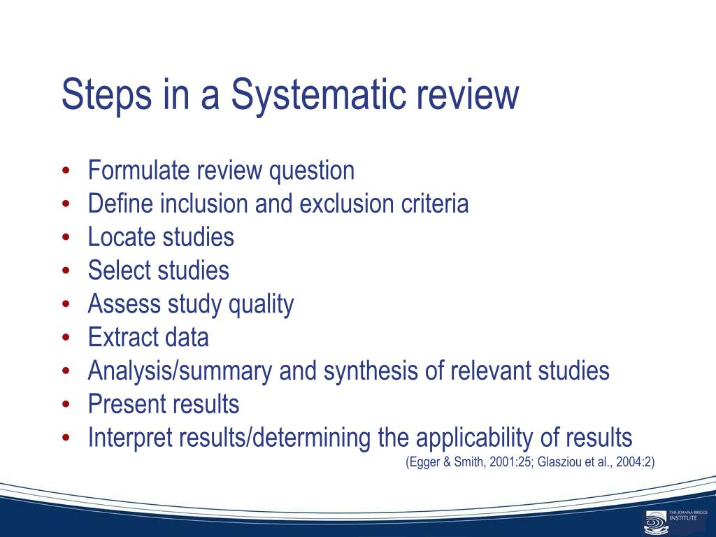Steps in a Systematic review
