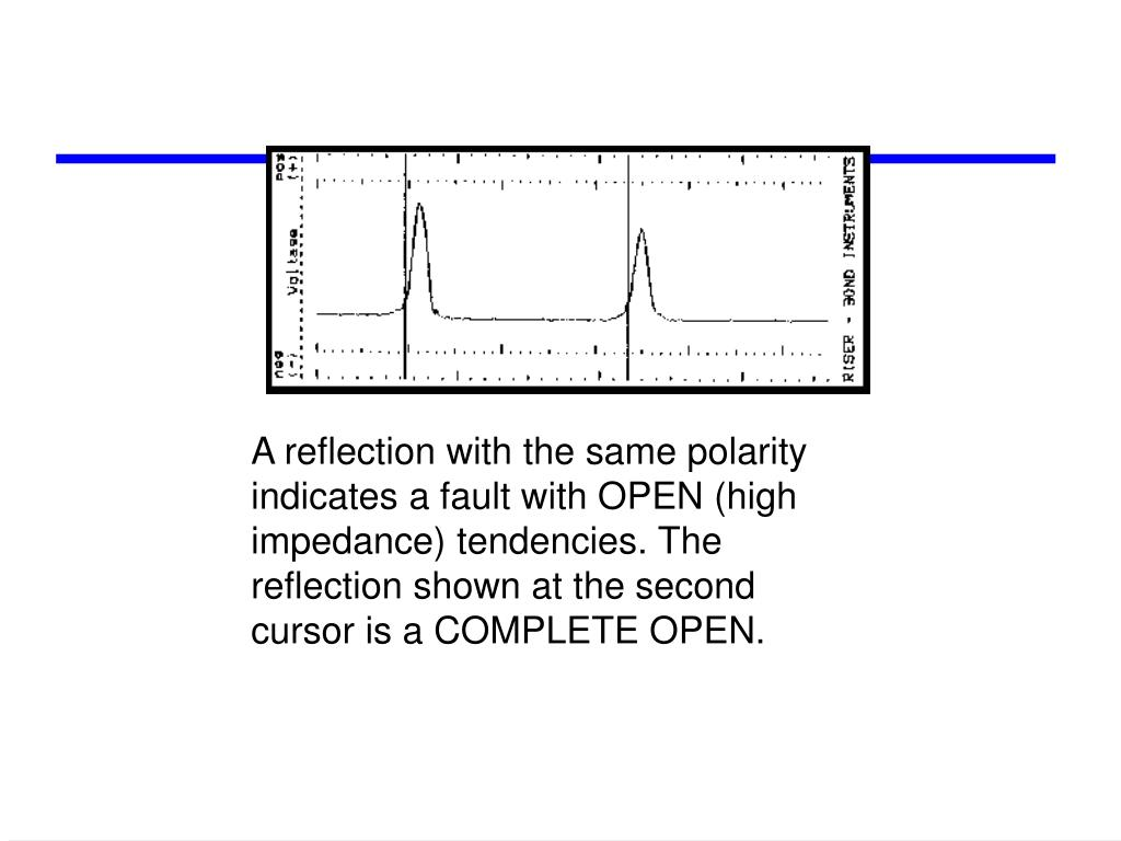 A reflection with the same polarity indicates a fault with OPEN (high impedance) tendencies. The reflection shown at the second cursor is a COMPLETE OPEN.