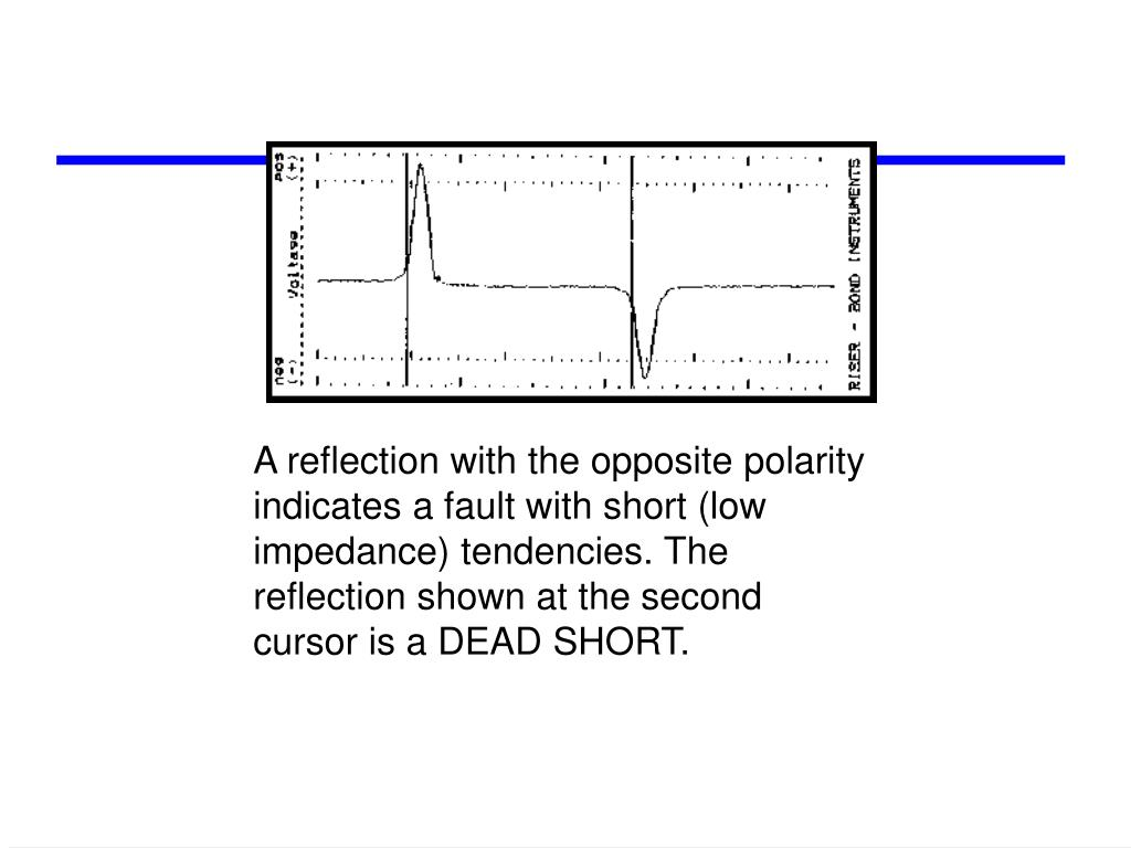 A reflection with the opposite polarity indicates a fault with short (low impedance) tendencies. The reflection shown at the second cursor is a DEAD SHORT.
