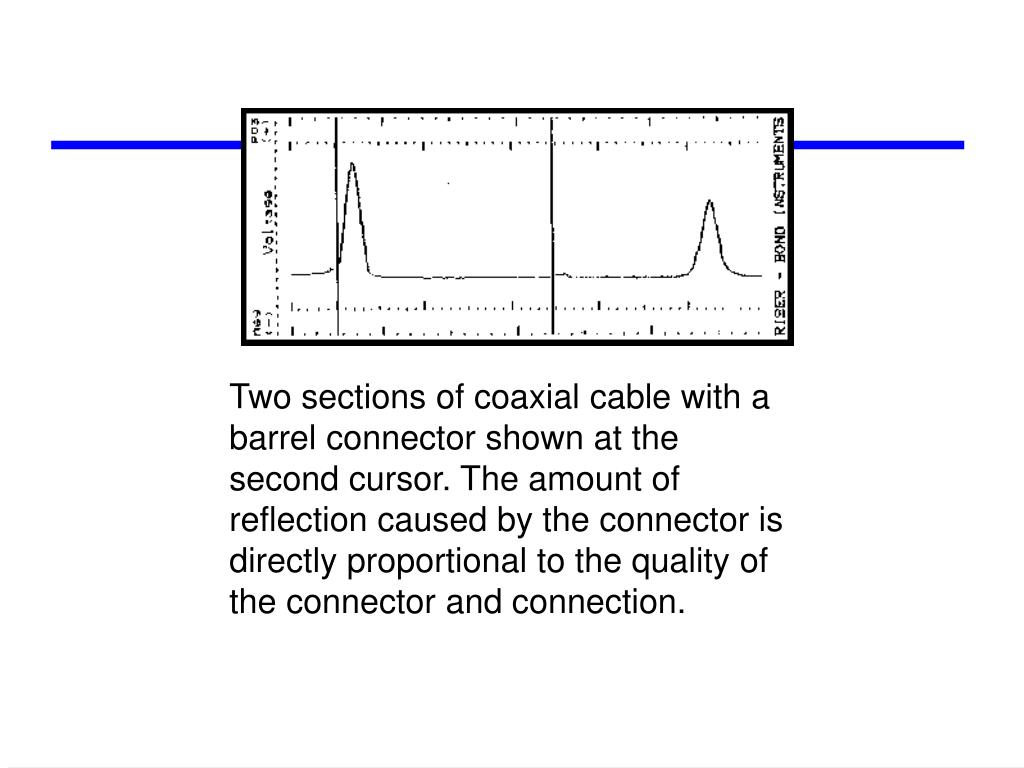 Two sections of coaxial cable with a barrel connector shown at the second cursor. The amount of reflection caused by the connector is directly proportional to the quality of the connector and connection.