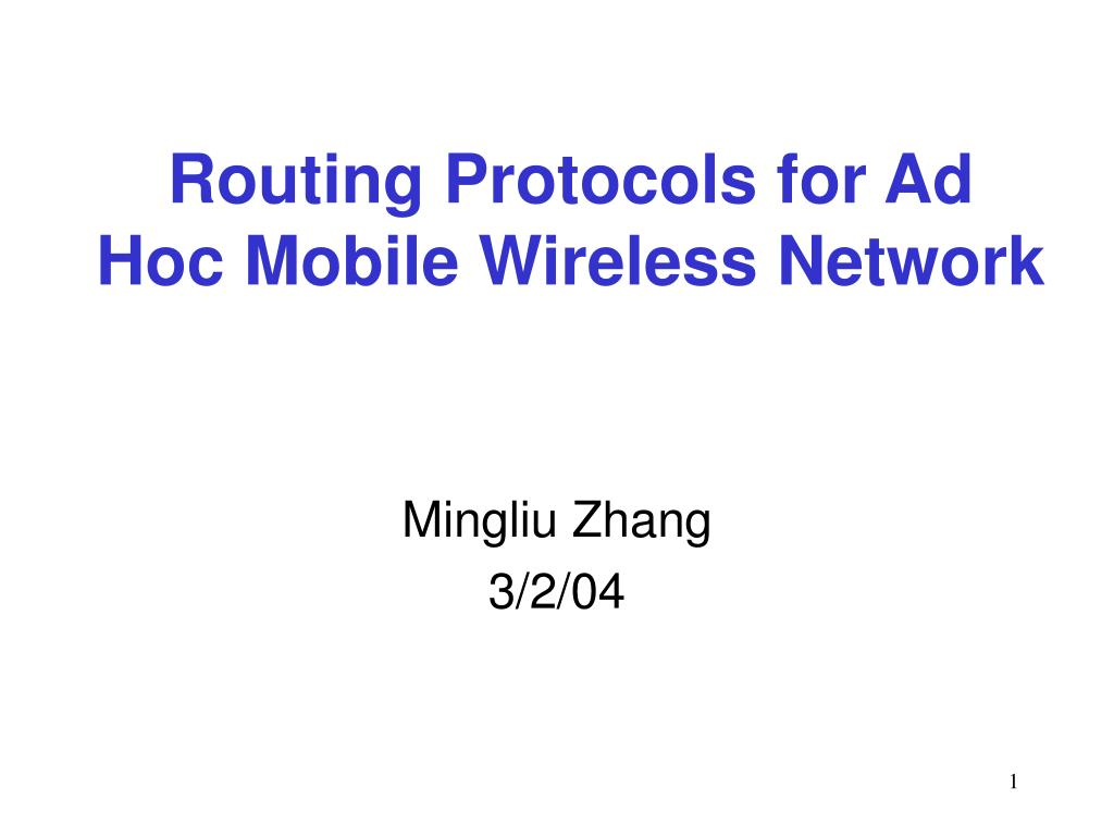 routing protocols for ad hoc mobile wireless network l.