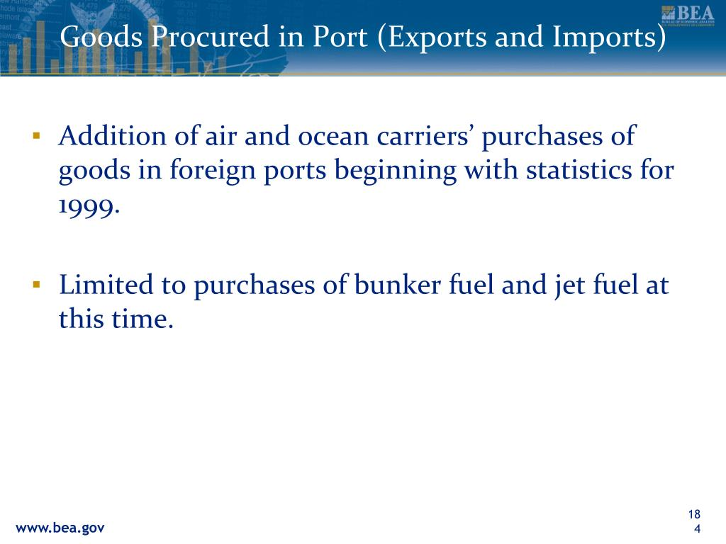 Goods Procured in Port (Exports and Imports)