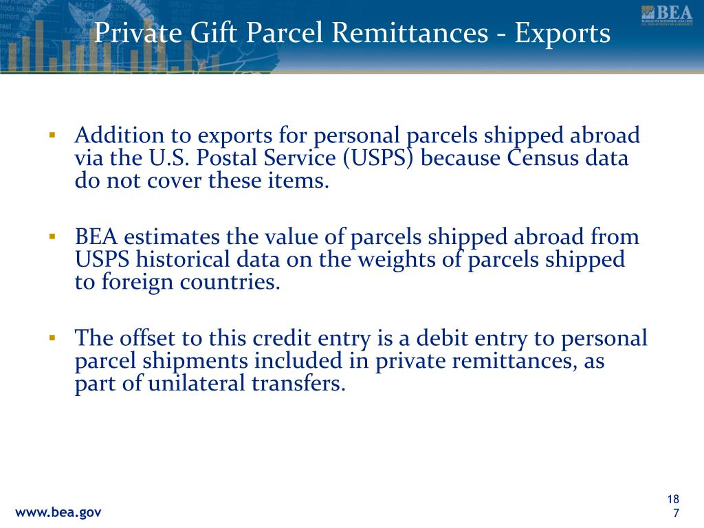 Private Gift Parcel Remittances - Exports