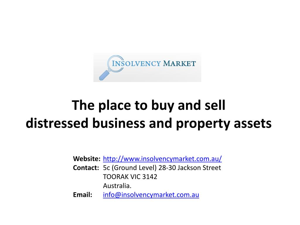 the place to buy and sell distressed business and property assets l.