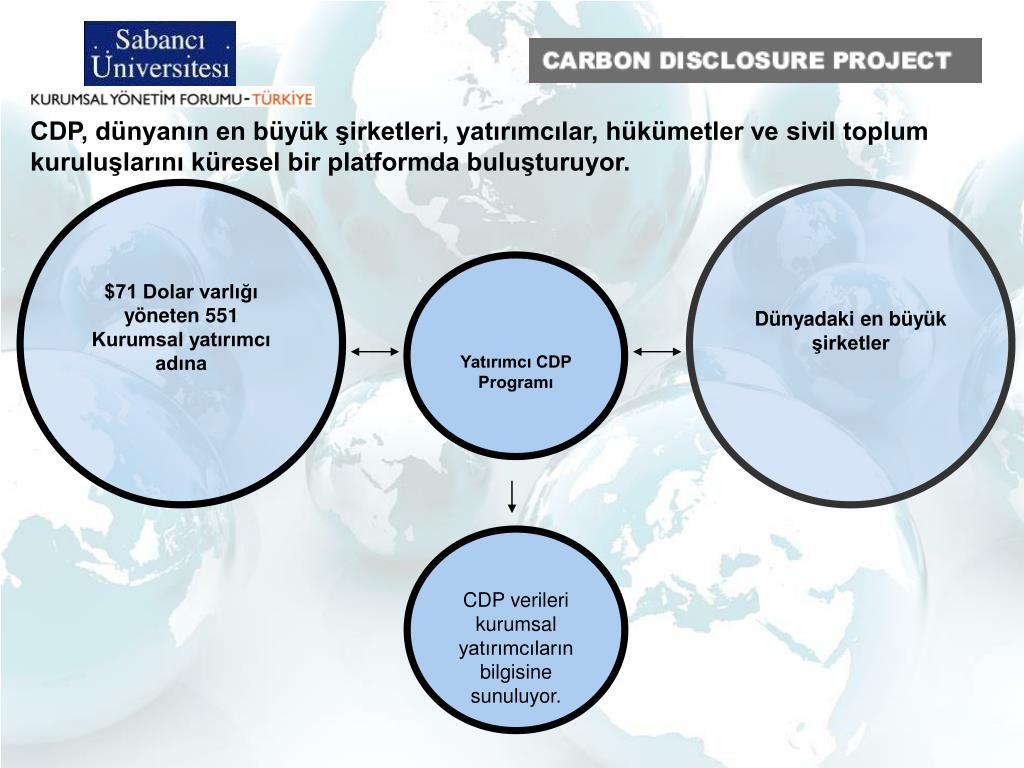 CDP, dünyanın en büyük şirketleri, yatırımcılar, hükümetler ve sivil toplum kuruluşlarını küresel bir platformda buluşturuyor.