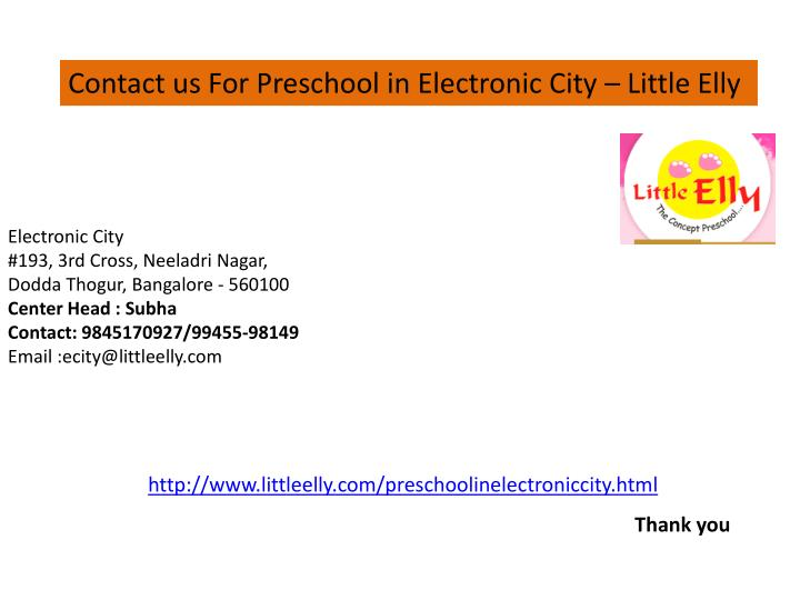 Contact us For Preschool in