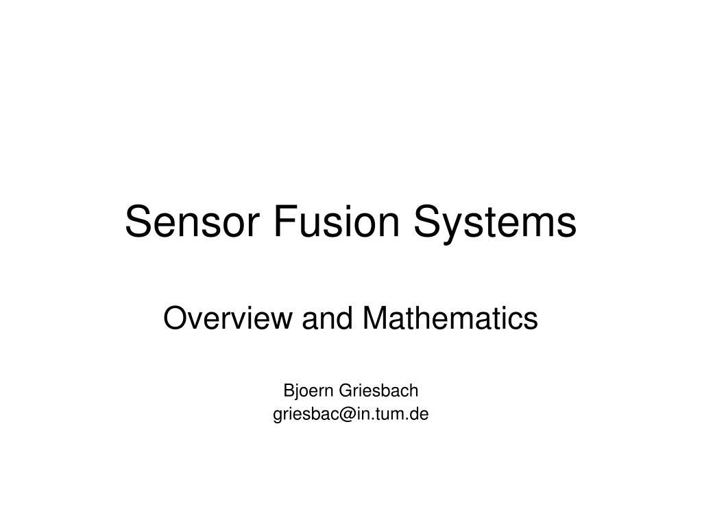 sensor fusion systems l.