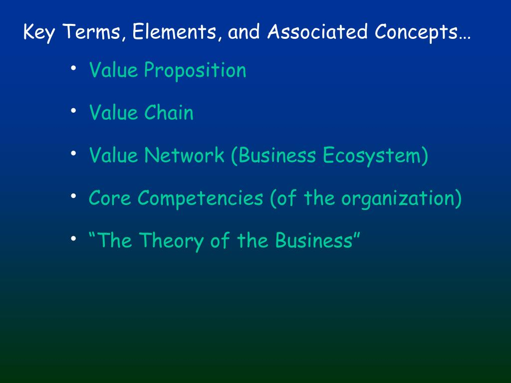 Key Terms, Elements, and Associated Concepts…