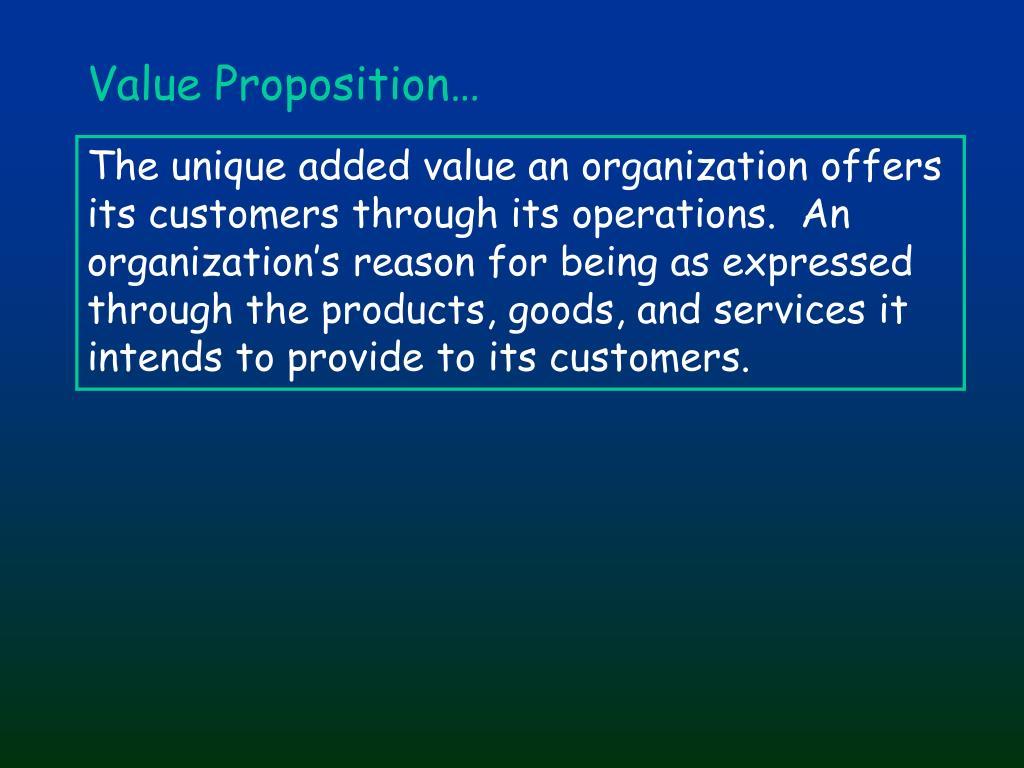 Value Proposition…