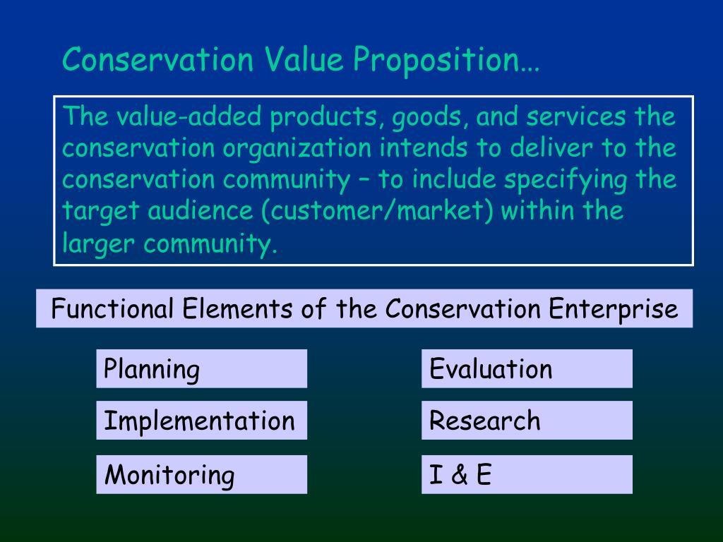 Conservation Value Proposition…