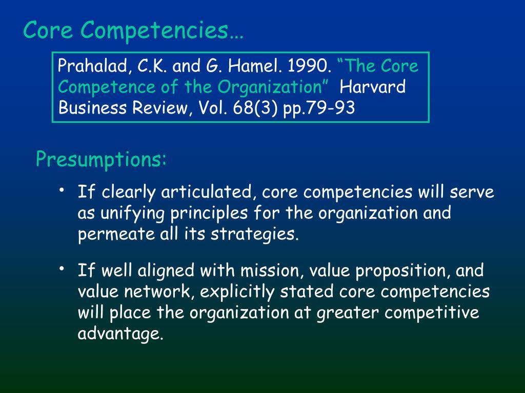 Core Competencies…
