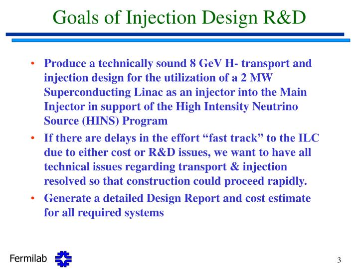Goals of injection design r d