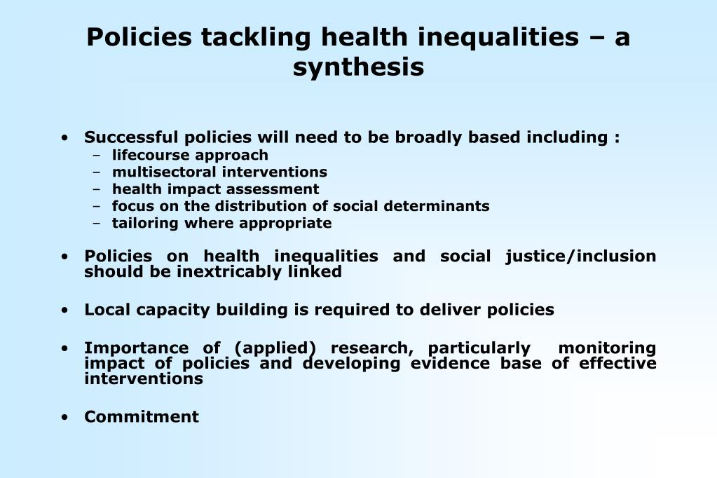 Policies tackling health inequalities – a synthesis