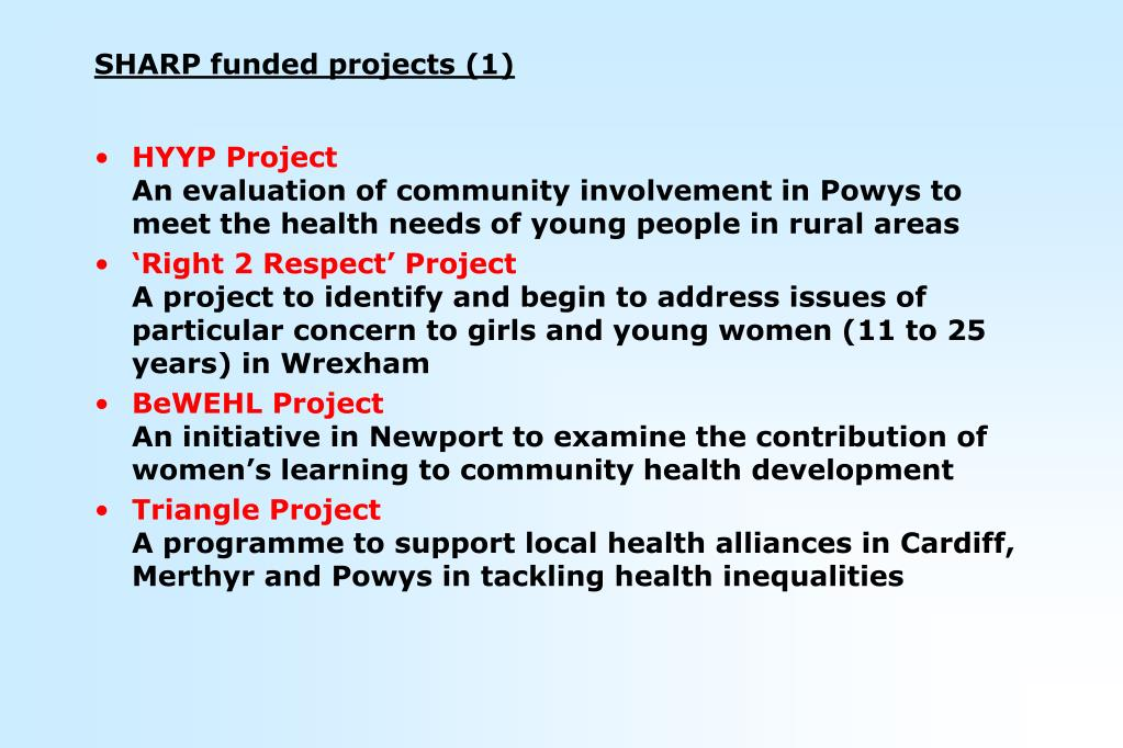 SHARP funded projects (1)