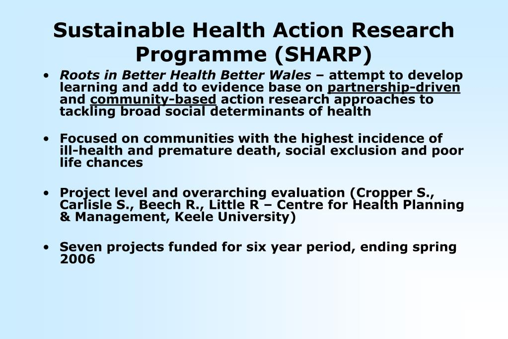 Sustainable Health Action Research Programme (SHARP)