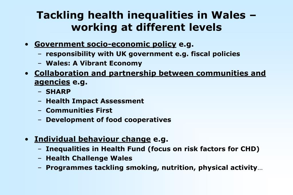 Tackling health inequalities in Wales – working at different levels