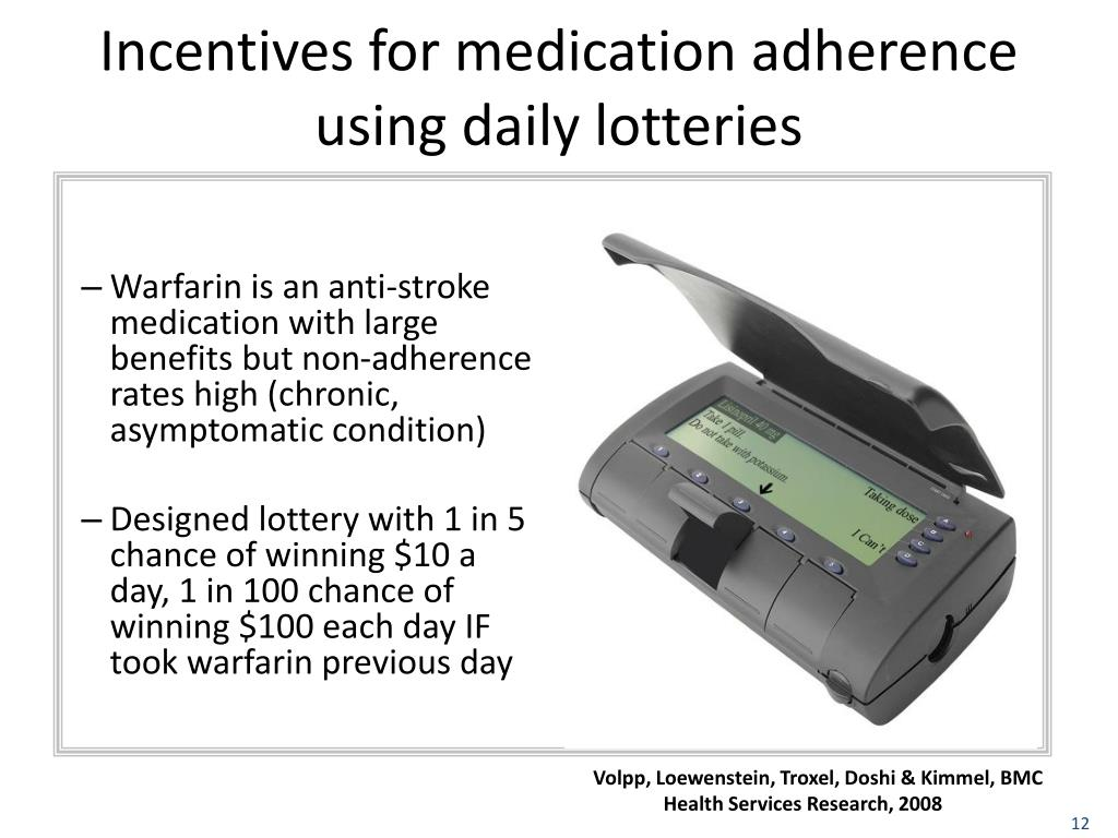 Incentives for medication adherence using daily lotteries