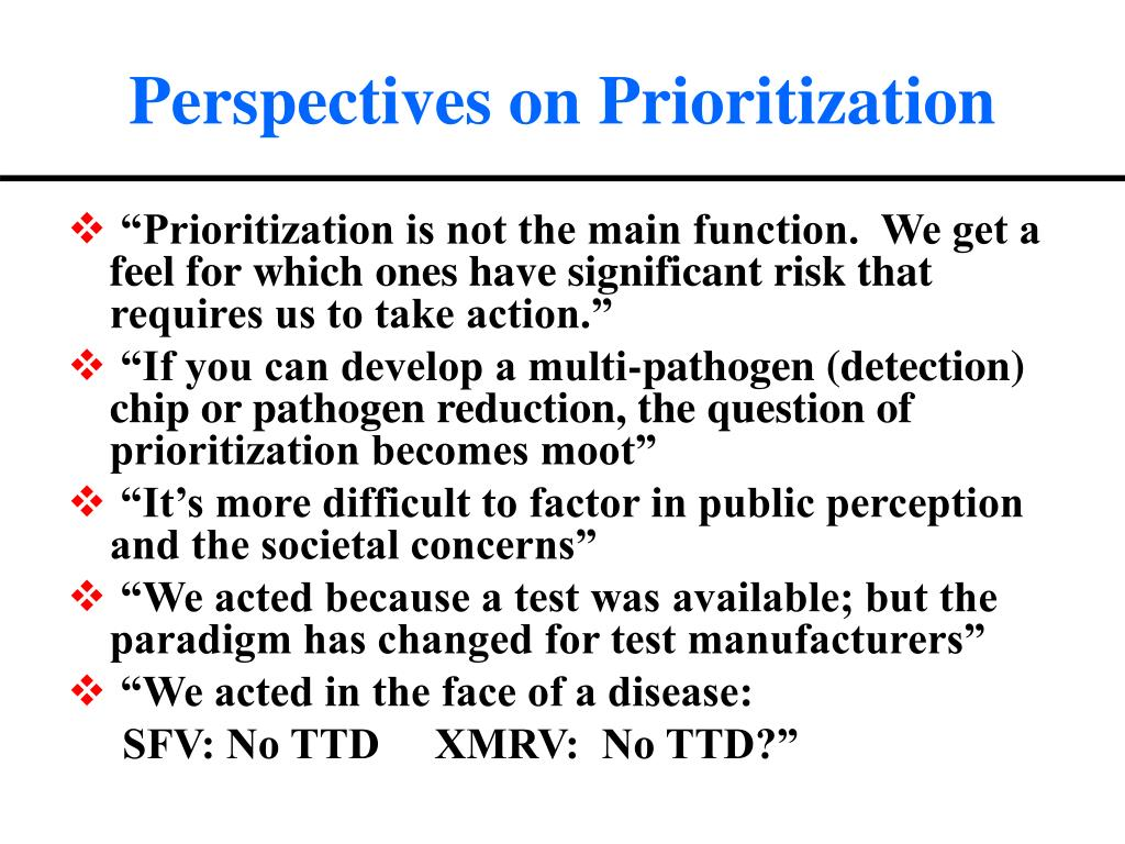 Perspectives on Prioritization
