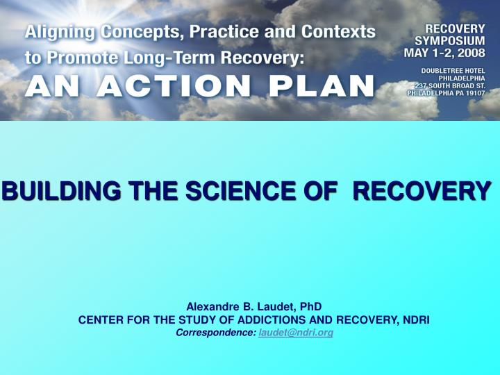 building the science of recovery n.