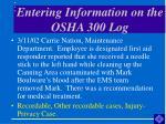 entering information on the osha 300 log45