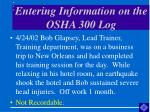 entering information on the osha 300 log46
