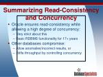 summarizing read consistency and concurrency