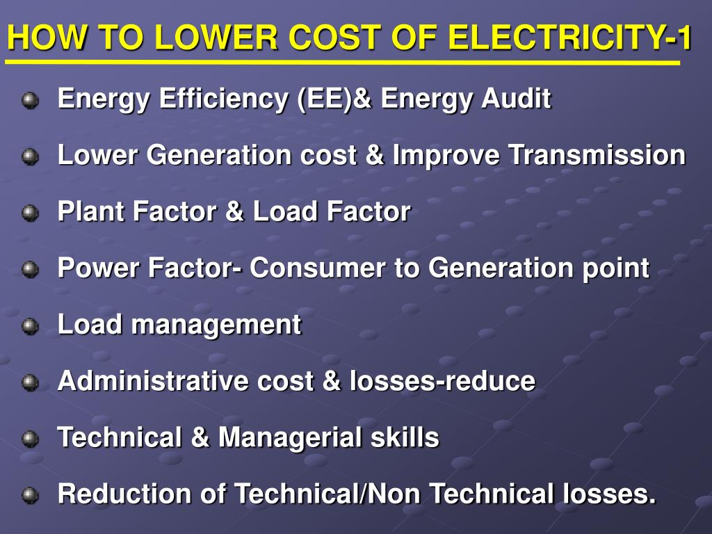 HOW TO LOWER COST OF ELECTRICITY-1