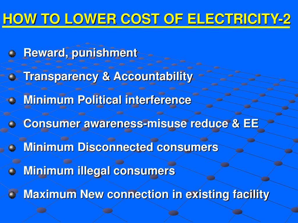 HOW TO LOWER COST OF ELECTRICITY-2