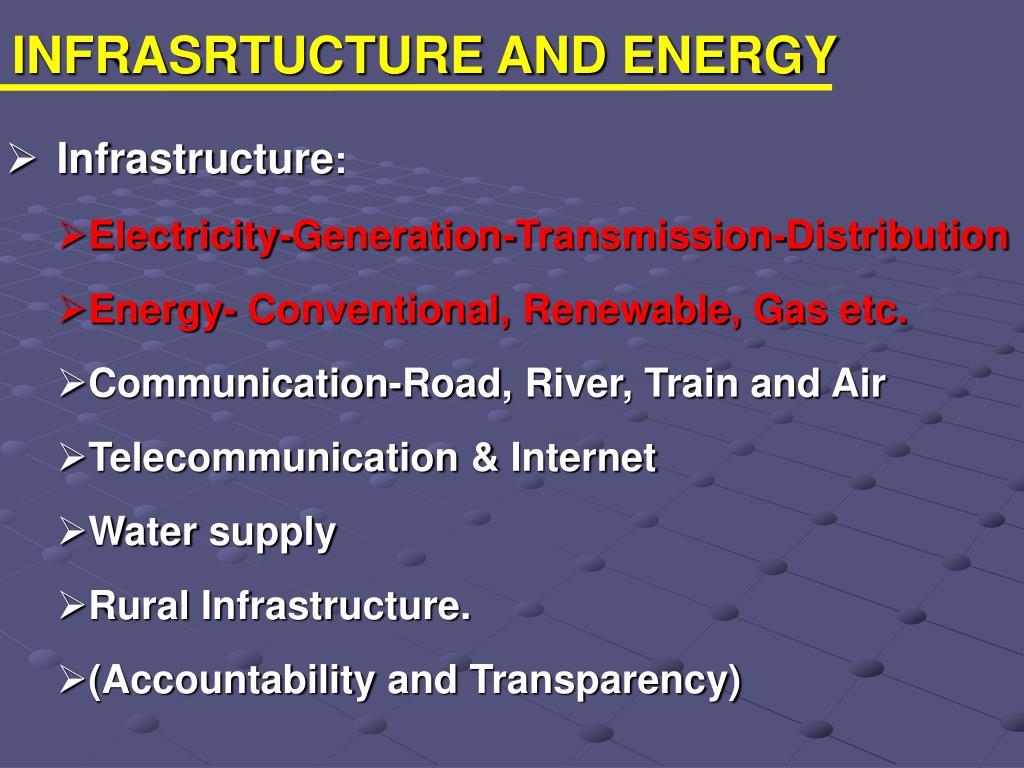 INFRASRTUCTURE AND ENERGY