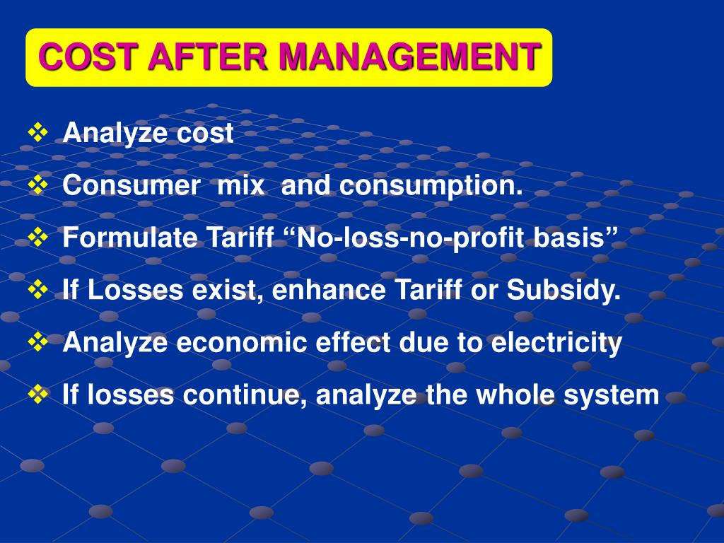 COST AFTER MANAGEMENT
